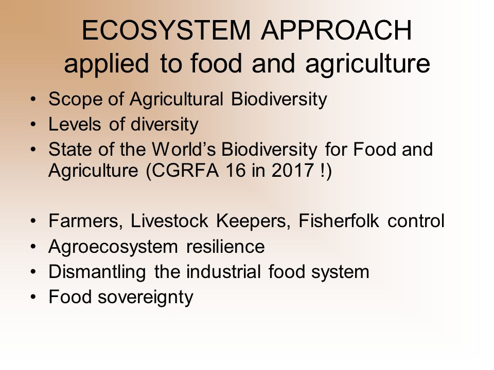Six Pillars of Food Sovereignty 1.Focuses on Food for People.