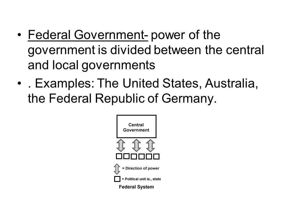 Federal Government- power of the government is divided between the central and local governments. Examples: The United States, Australia, the Federal