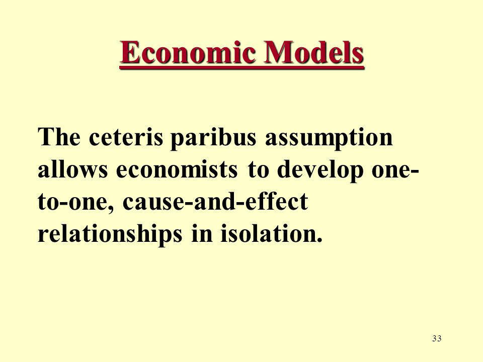 33 Economic Models The ceteris paribus assumption allows economists to develop one- to-one, cause-and-effect relationships in isolation.