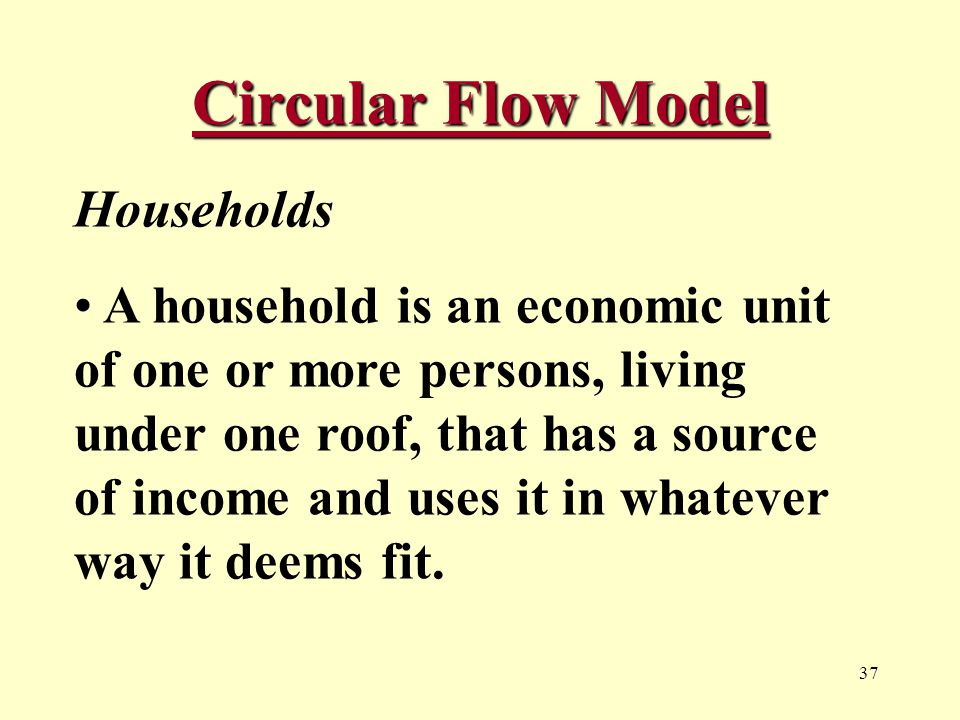 37 Circular Flow Model Households A household is an economic unit of one or more persons, living under one roof, that has a source of income and uses it in whatever way it deems fit.