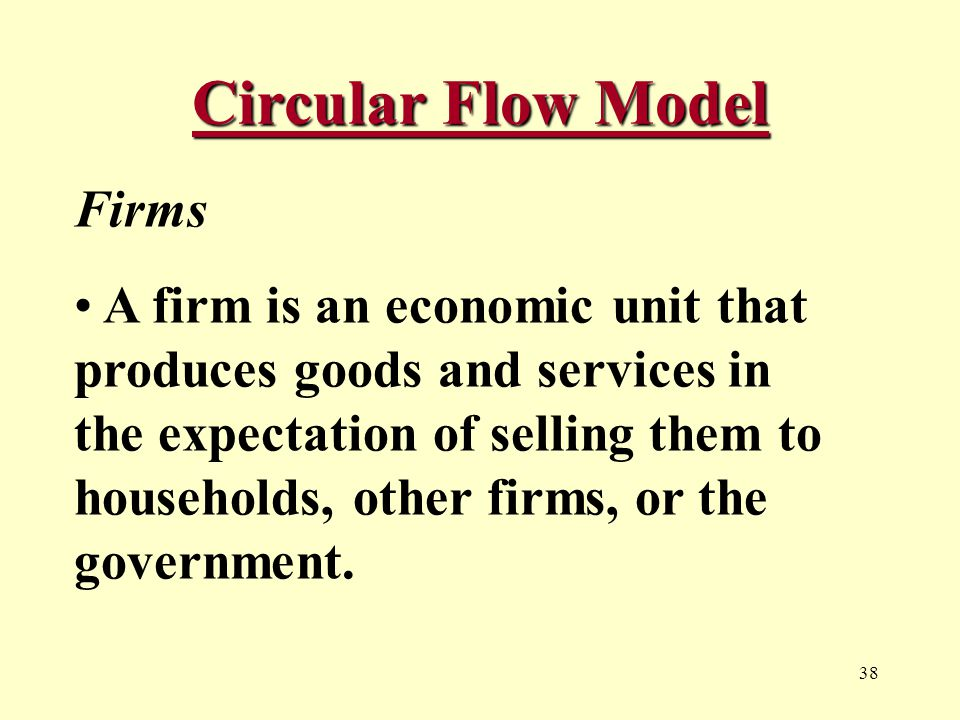 38 Circular Flow Model Firms A firm is an economic unit that produces goods and services in the expectation of selling them to households, other firms, or the government.