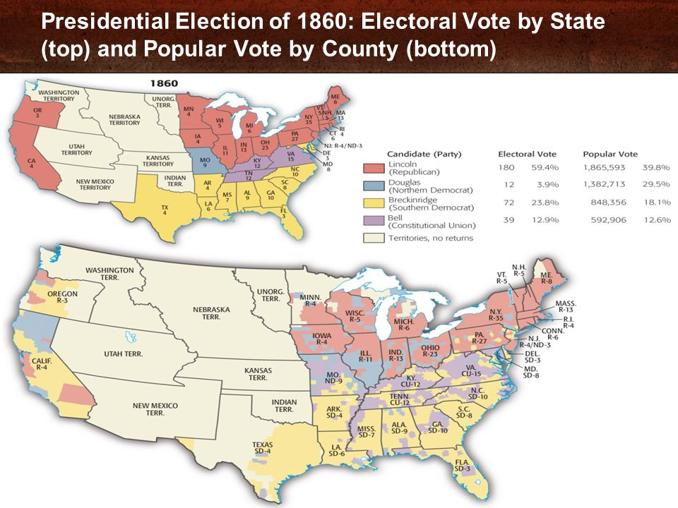 Presidential Election of 1860: Electoral Vote by State (top) and Popular Vote by County (bottom)