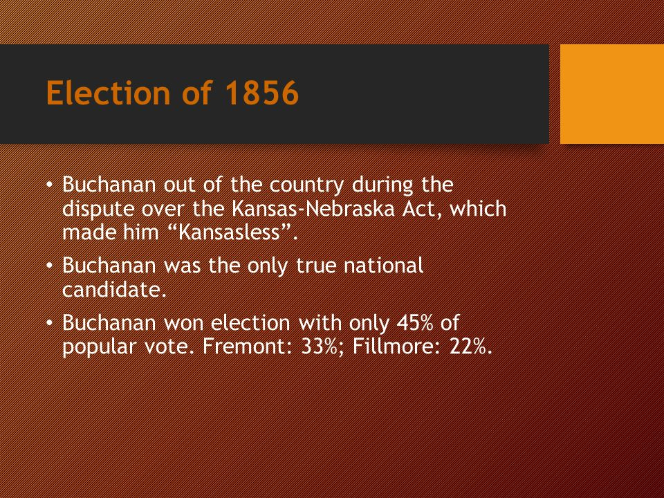 Presidential Election of 1856 √ James Buchanan John C. Frémont Millard Fillmore Democrat Republican Whig & Know-Nothing Party \
