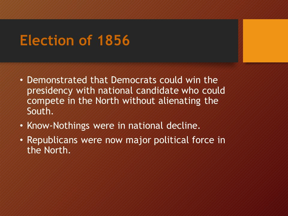 1856 Election Results Note: 2 year old Republicans received a large chunk of the votes even if they did lose. 1856 Election Results Note: 2 year old R