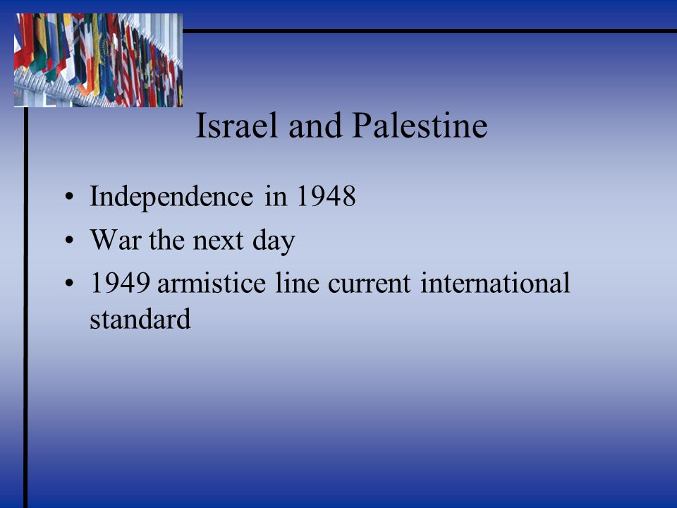 Israel and Palestine Independence in 1948 War the next day 1949 armistice line current international standard