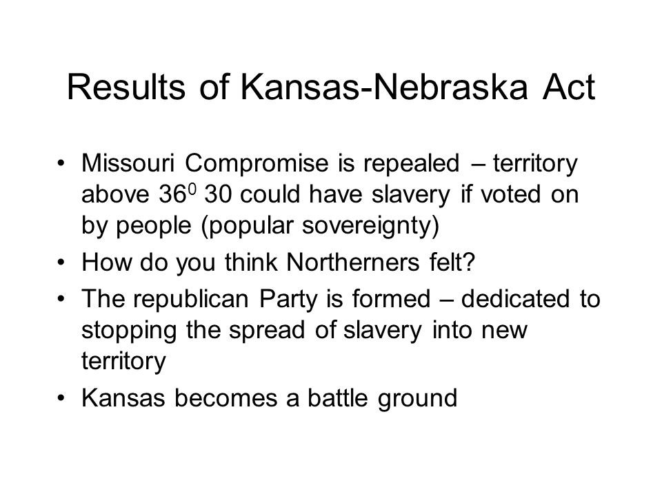 Results of Kansas-Nebraska Act Missouri Compromise is repealed – territory above 36 0 30 could have slavery if voted on by people (popular sovereignty) How do you think Northerners felt.