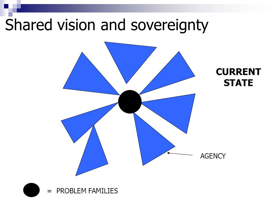 CURRENT STATE AGENCY = PROBLEM FAMILIES Shared vision and sovereignty