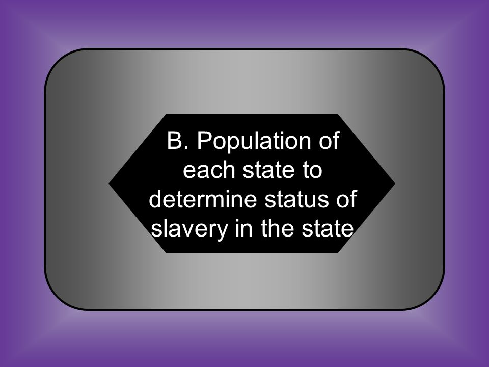 A:B: Federal govt. to determine status of slavery in the state.