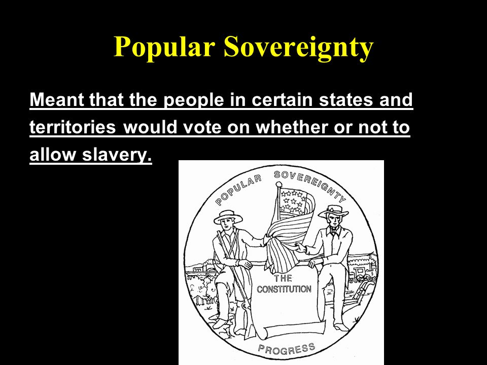 Popular Sovereignty Meant that the people in certain states and territories would vote on whether or not to allow slavery.