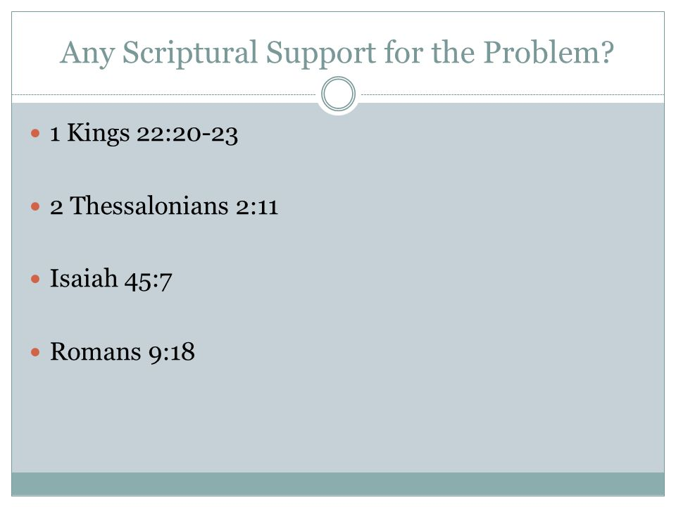Any Scriptural Support for the Problem.