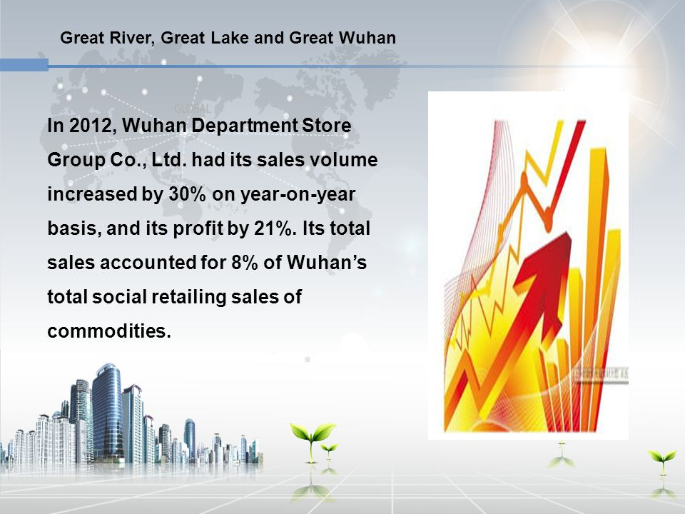 Great River, Great Lake and Great Wuhan In 2012, Wuhan Department Store Group Co., Ltd. had its sales volume increased by 30% on year-on-year basis, a