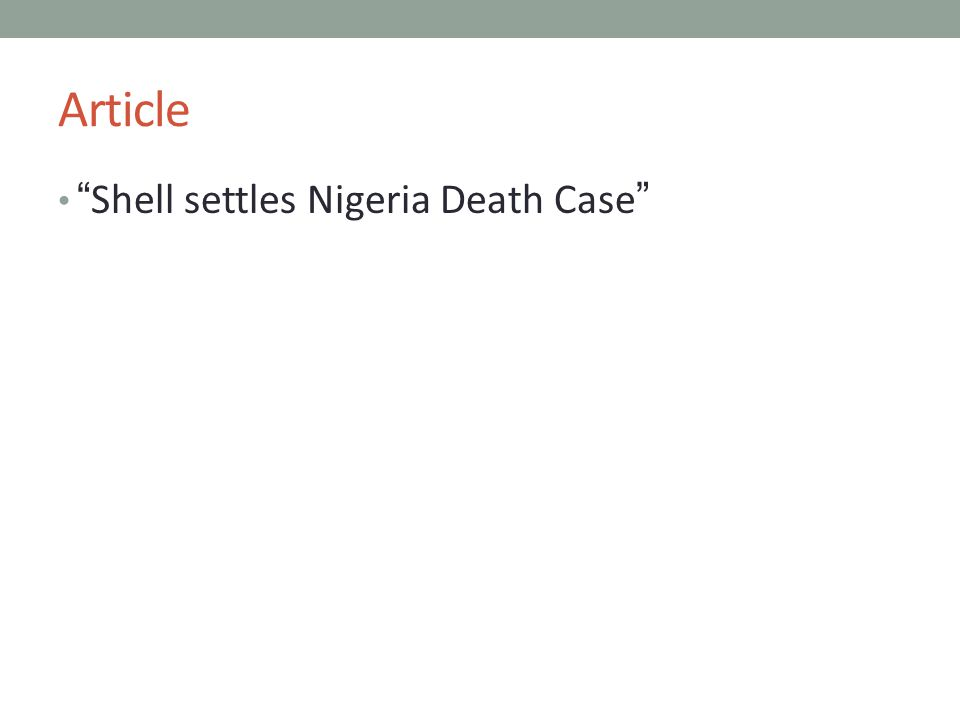 Article Shell settles Nigeria Death Case