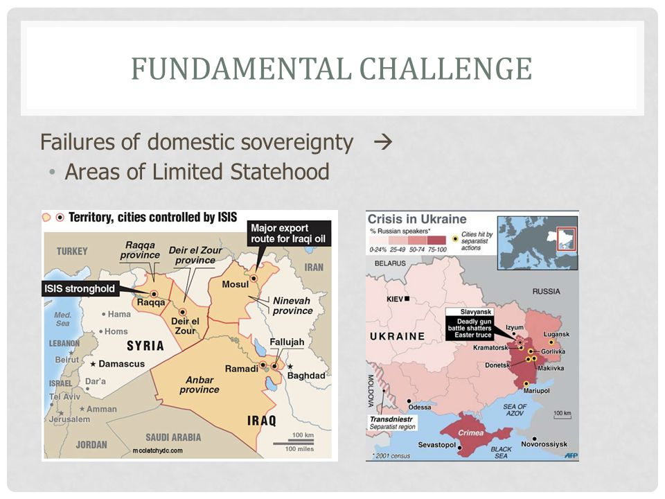 FUNDAMENTAL CHALLENGE Failures of domestic sovereignty  Areas of Limited Statehood