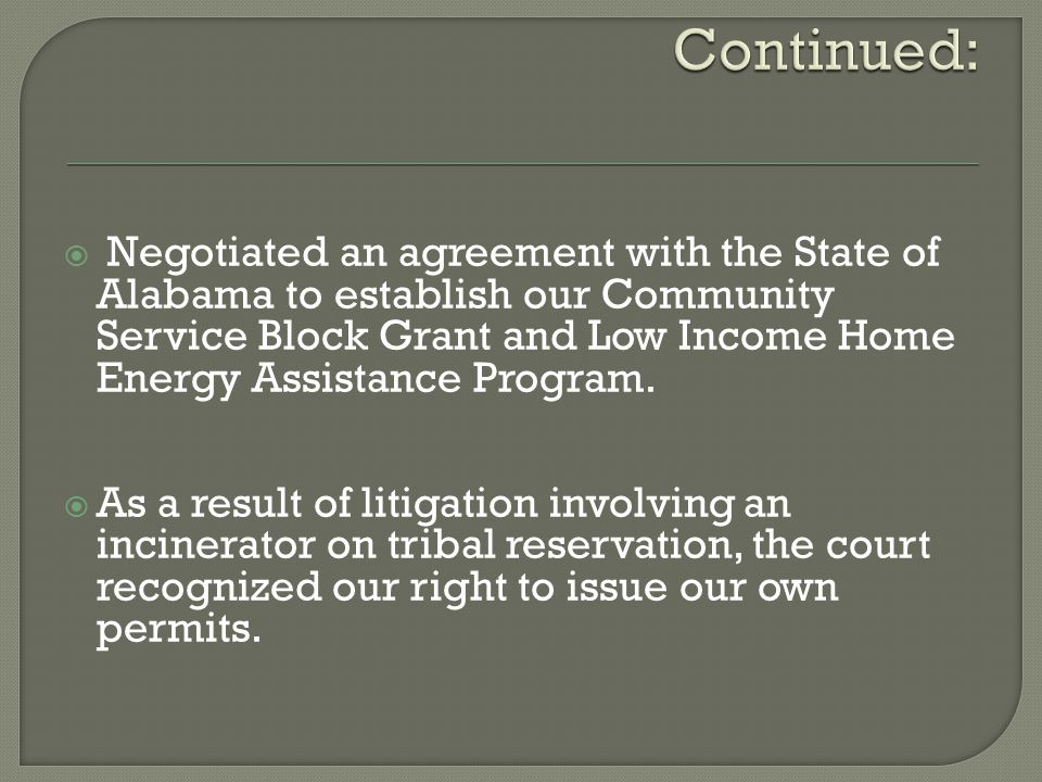  Negotiated an agreement with the State of Alabama to establish our Community Service Block Grant and Low Income Home Energy Assistance Program.