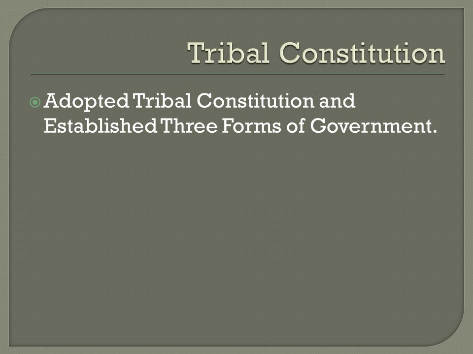  Adopted Tribal Constitution and Established Three Forms of Government.