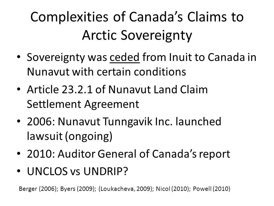 A Circumpolar Inuit Declaration on Sovereignty in the Arctic (2009) The actions of Arctic peoples and states, the interactions between them, and the conduct of international relations must give primary respect to the need for global environmental security, the need for peaceful resolution of disputes, and the inextricable linkages between issues of sovereignty and sovereign rights in the Arctic and issues of self- determination (Section 3.2).