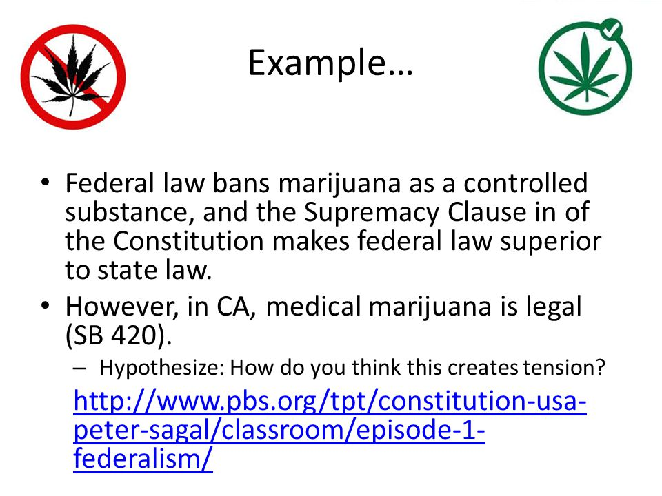 Example… Federal law bans marijuana as a controlled substance, and the Supremacy Clause in of the Constitution makes federal law superior to state law.
