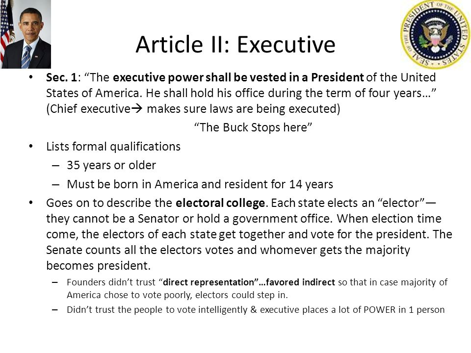 Article II: Executive Sec.