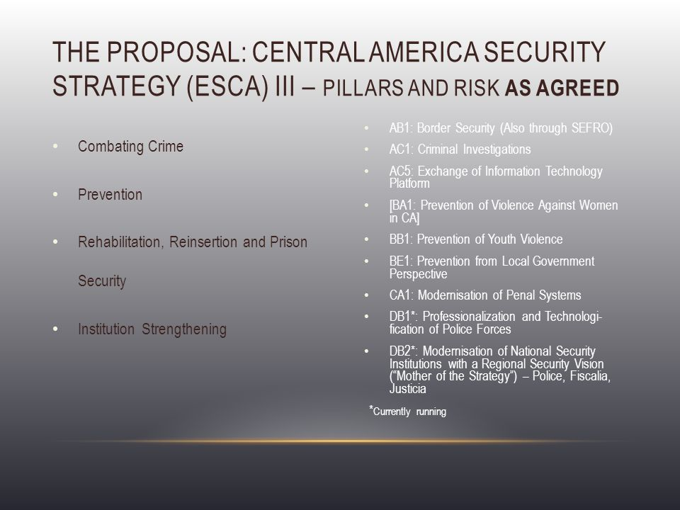 Combating Crime Prevention Rehabilitation, Reinsertion and Prison Security Institution Strengthening THE PROPOSAL: CENTRAL AMERICA SECURITY STRATEGY (ESCA) III – PILLARS AND RISK AS AGREED AB1: Border Security (Also through SEFRO) AC1: Criminal Investigations AC5: Exchange of Information Technology Platform [BA1: Prevention of Violence Against Women in CA] BB1: Prevention of Youth Violence BE1: Prevention from Local Government Perspective CA1: Modernisation of Penal Systems DB1*: Professionalization and Technologi- fication of Police Forces DB2*: Modernisation of National Security Institutions with a Regional Security Vision ( Mother of the Strategy ) – Police, Fiscalia, Justicia * Currently running