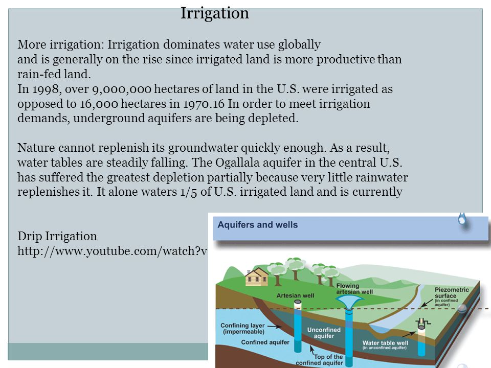 Irrigation More irrigation: Irrigation dominates water use globally and is generally on the rise since irrigated land is more productive than rain-fed