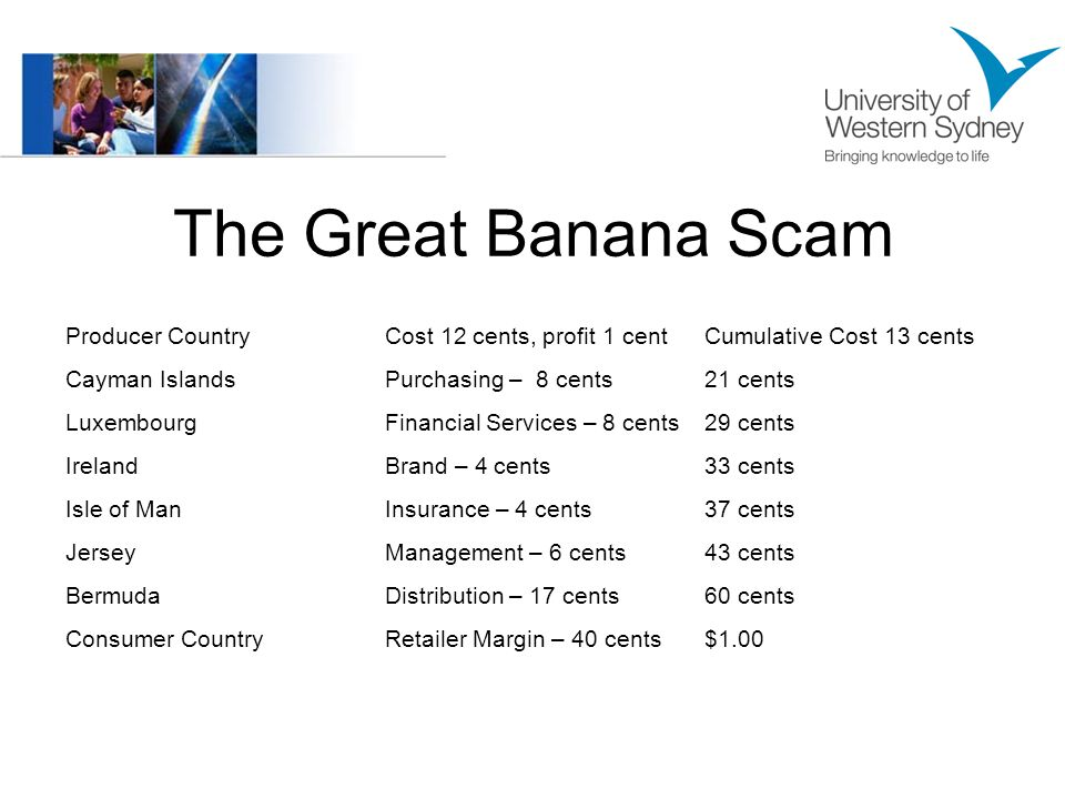 The Great Banana Scam Producer CountryCost 12 cents, profit 1 centCumulative Cost 13 cents Cayman IslandsPurchasing – 8 cents21 cents LuxembourgFinancial Services – 8 cents29 cents IrelandBrand – 4 cents33 cents Isle of ManInsurance – 4 cents37 cents JerseyManagement – 6 cents43 cents BermudaDistribution – 17 cents60 cents Consumer CountryRetailer Margin – 40 cents$1.00