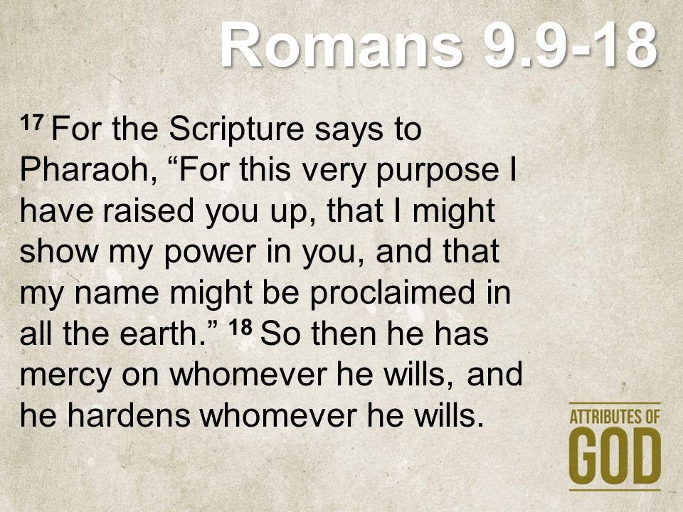 """Romans 9.9-18 17 For the Scripture says to Pharaoh, """"For this very purpose I have raised you up, that I might show my power in you, and that my name m"""