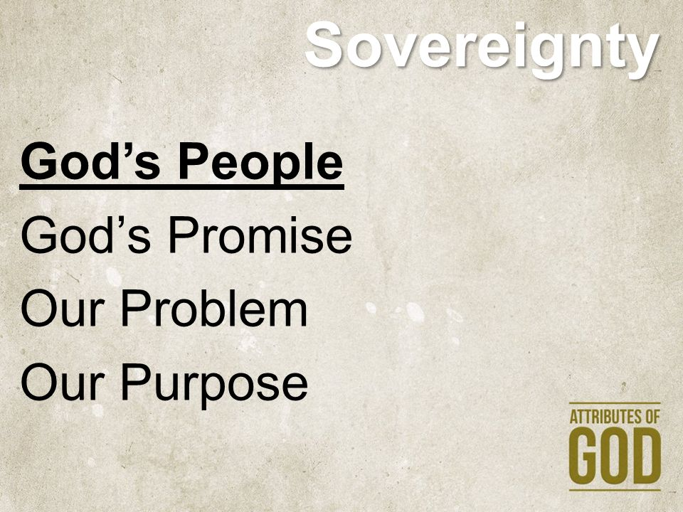 Sovereignty God's People God's Promise Our Problem Our Purpose