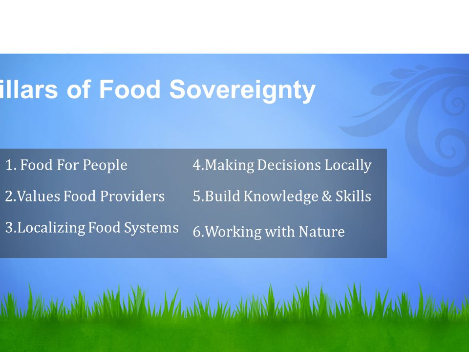 6 Pillars of Food Sovereignty 1. Food For People 2.Values Food Providers 3.Localizing Food Systems 4.Making Decisions Locally 5.Build Knowledge & Skil