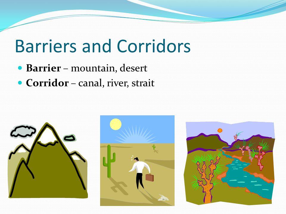 Barriers and Corridors Barrier – mountain, desert Corridor – canal, river, strait