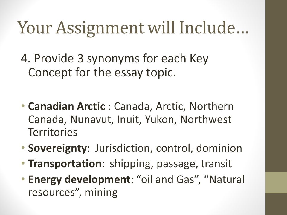 Your Assignment will Include… 4. Provide 3 synonyms for each Key Concept for the essay topic.