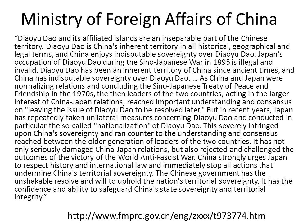 Ministry of Foreign Affairs of China Diaoyu Dao and its affiliated islands are an inseparable part of the Chinese territory.