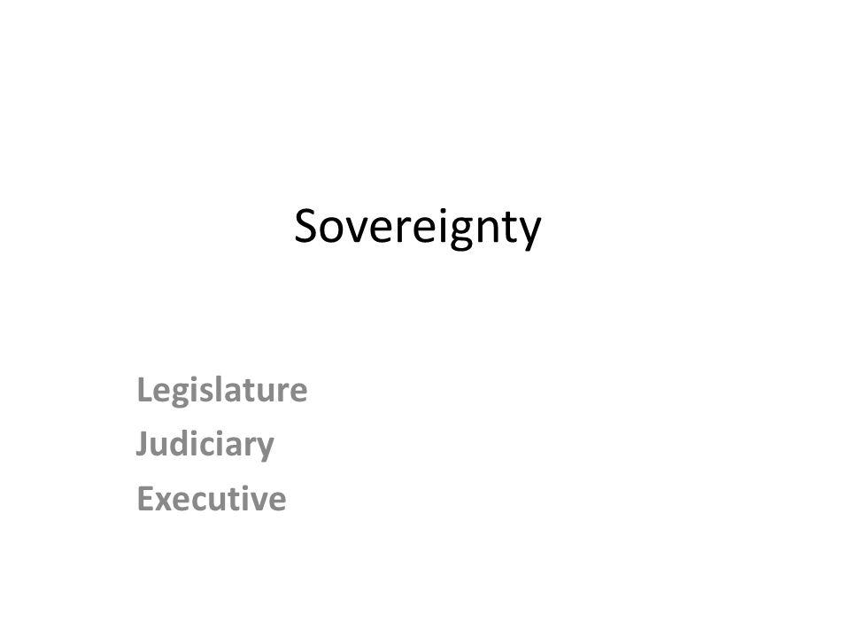 Sovereignty Legislature Judiciary Executive