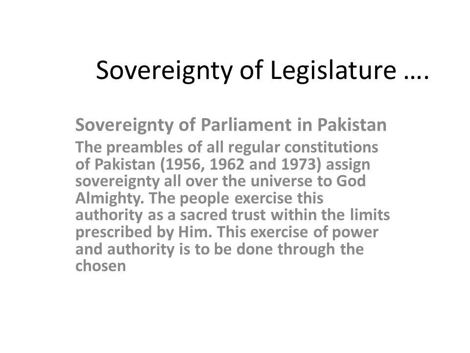 Sovereignty of Legislature ….