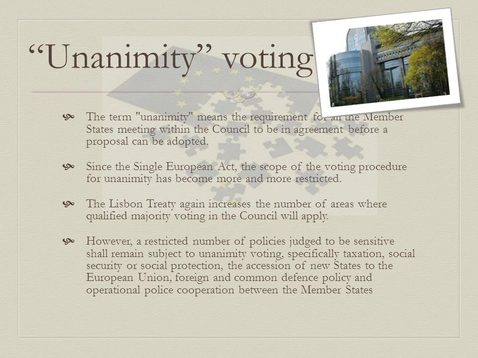 """Unanimity"" voting  The term"