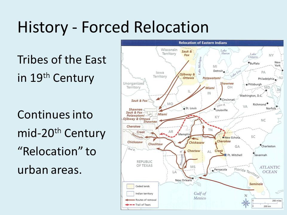"History - Forced Relocation Tribes of the East in 19 th Century Continues into mid-20 th Century ""Relocation"" to urban areas."