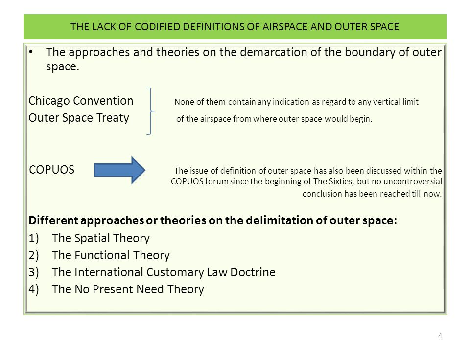 THE LACK OF CODIFIED DEFINITIONS OF AIRSPACE AND OUTER SPACE The approaches and theories on the demarcation of the boundary of outer space.