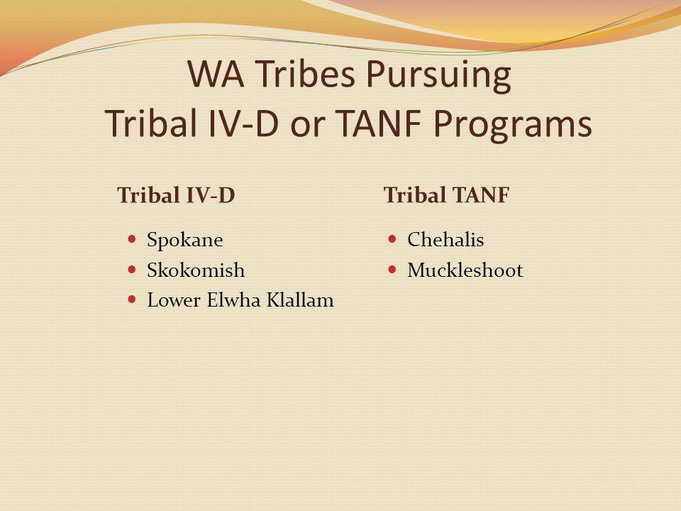 WA Tribes Pursuing Tribal IV-D or TANF Programs Tribal IV-D Spokane Skokomish Lower Elwha Klallam Tribal TANF Chehalis Muckleshoot
