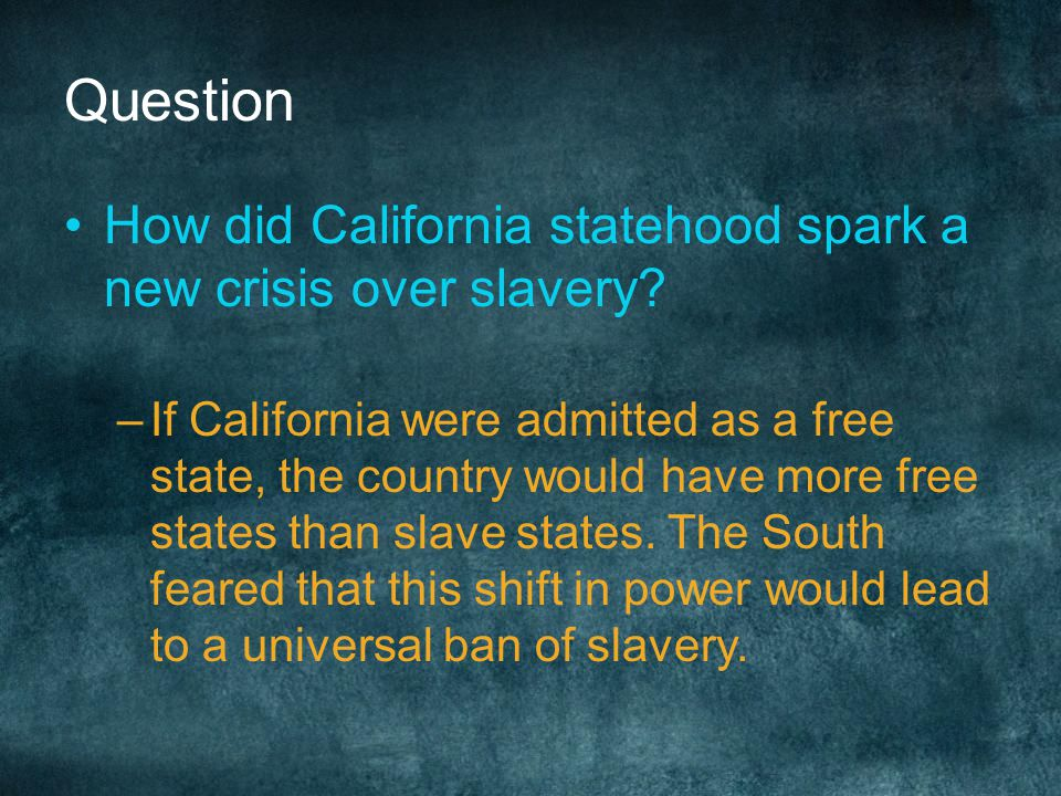 Henry Clay's Compromise CA admitted as free state NM and UT use popular sovereignty to decide slavery issue Slave trade- not slavery- ended in WA D.C.