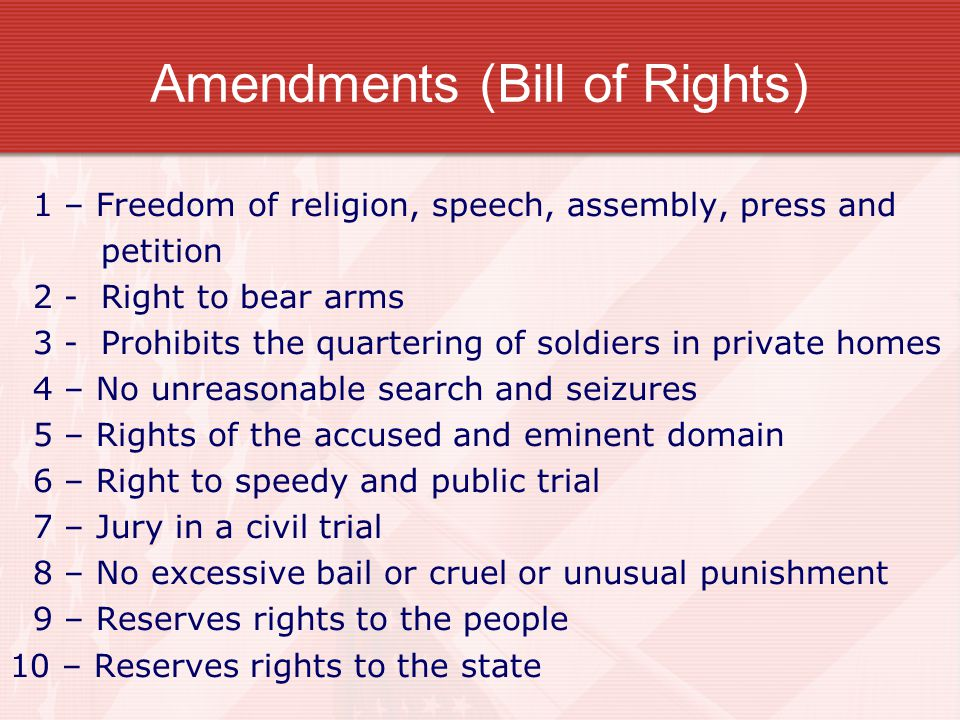Amendments (Bill of Rights) 1 – Freedom of religion, speech, assembly, press and petition 2 - Right to bear arms 3 - Prohibits the quartering of soldi