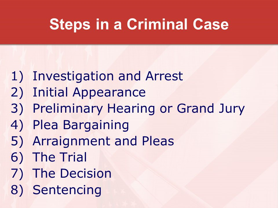 Steps in a Criminal Case 1) Investigation and Arrest 2) Initial Appearance 3) Preliminary Hearing or Grand Jury 4) Plea Bargaining 5) Arraignment and