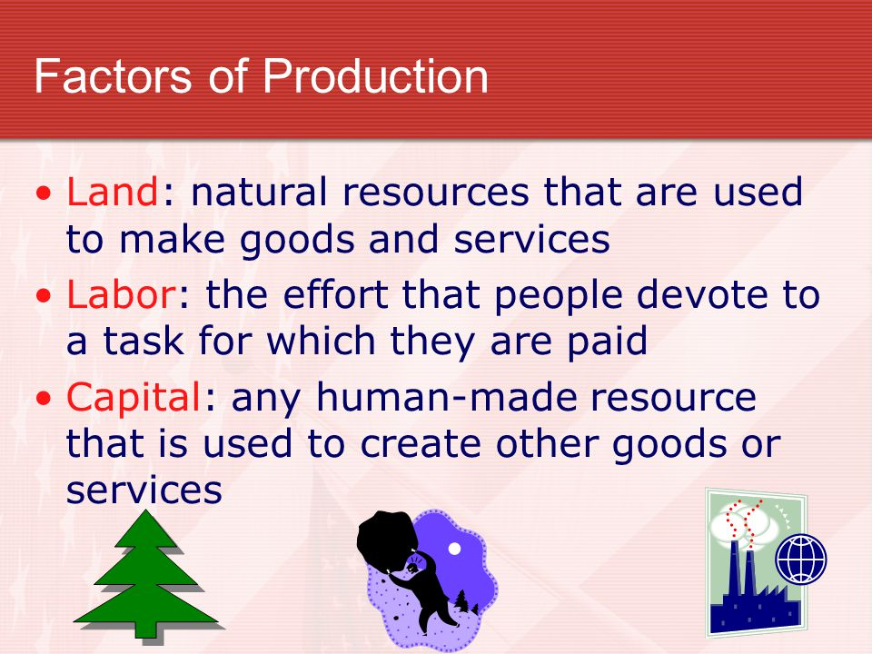 Factors of Production Land: natural resources that are used to make goods and services Labor: the effort that people devote to a task for which they a