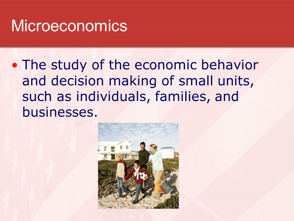 Microeconomics The study of the economic behavior and decision making of small units, such as individuals, families, and businesses.