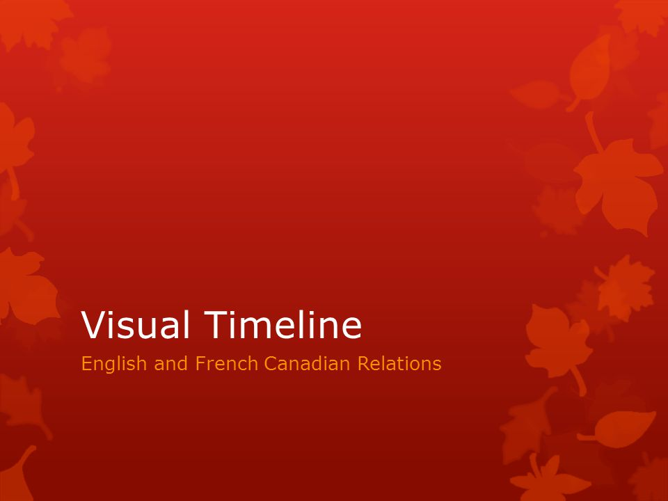 Visual Timeline English and French Canadian Relations