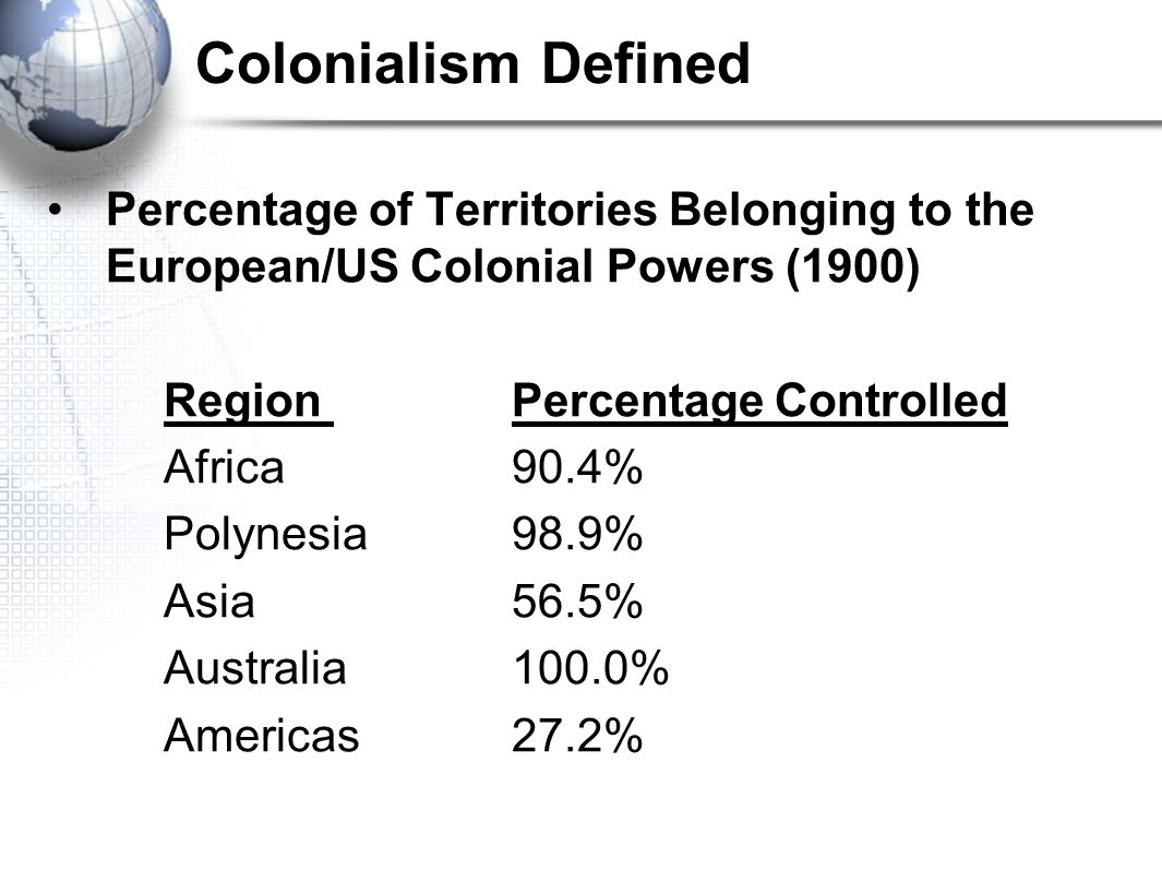 Colonialism Defined Percentage of Territories Belonging to the European/US Colonial Powers (1900) Region Percentage Controlled Africa 90.4% Polynesia 98.9% Asia 56.5% Australia 100.0% Americas 27.2%