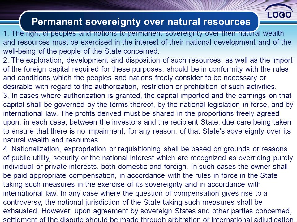 LOGO Permanent sovereignty over natural resources 2 1.