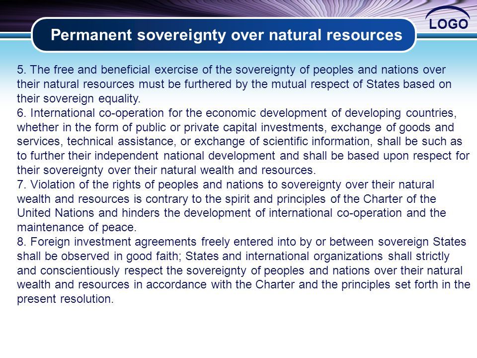 LOGO Permanent sovereignty over natural resources 2 5.