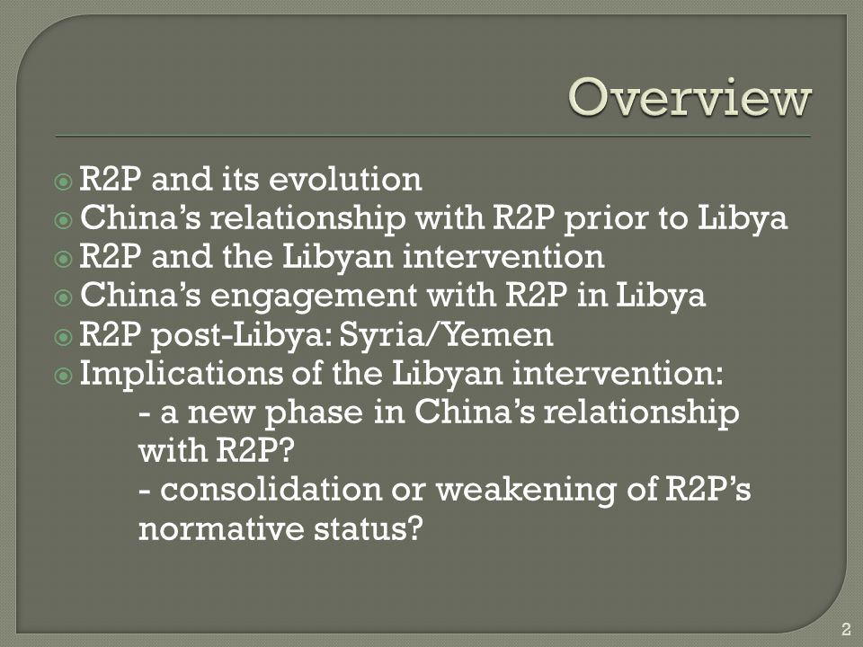  R2P and its evolution  China's relationship with R2P prior to Libya  R2P and the Libyan intervention  China's engagement with R2P in Libya  R2P