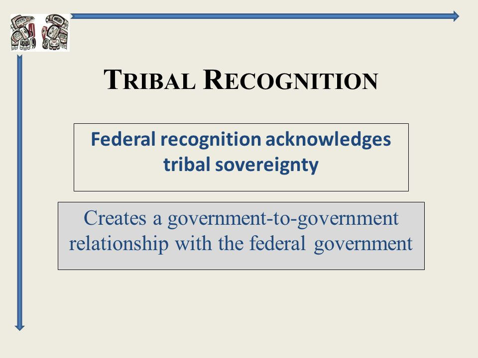 T RIBAL R ECOGNITION Creates a government-to-government relationship with the federal government Federal recognition acknowledges tribal sovereignty
