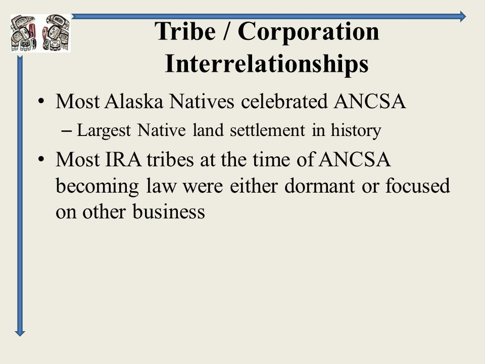 Tribe / Corporation Interrelationships Most Alaska Natives celebrated ANCSA – Largest Native land settlement in history Most IRA tribes at the time of ANCSA becoming law were either dormant or focused on other business