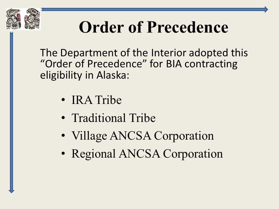 Order of Precedence IRA Tribe Traditional Tribe Village ANCSA Corporation Regional ANCSA Corporation The Department of the Interior adopted this Order of Precedence for BIA contracting eligibility in Alaska: